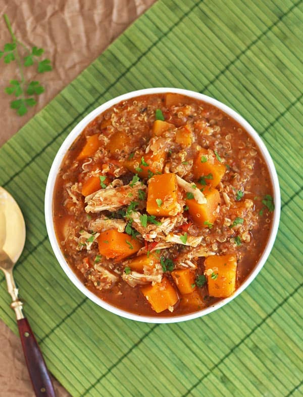 Slow Cooker Butternut Squash Quinoa Chicken Stew