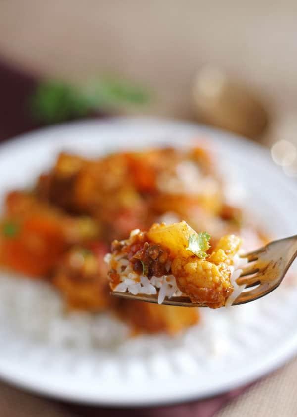 Cauliflower Ground Beef Curry