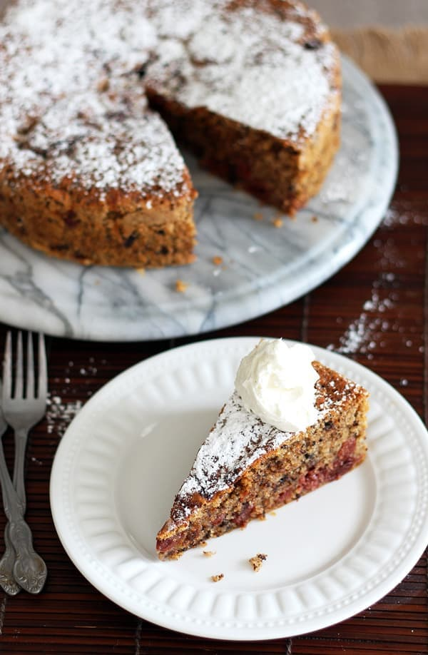 Dusted Cherry Chocolate Cake