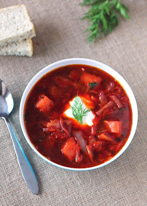 Ukrainian Borscht - Beet Cabbage Soup