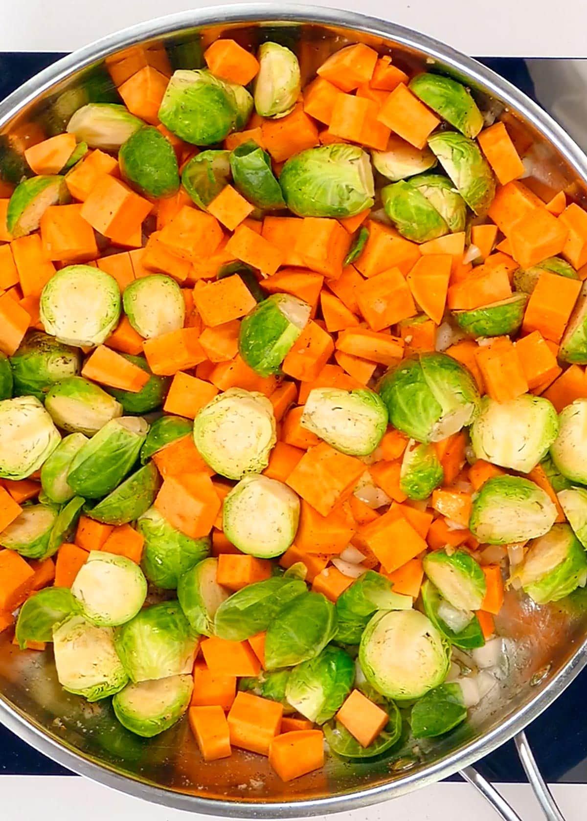 Roasting Sprouts and Sweet Potatoes