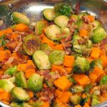 Sweet Potato Brussels Sprouts Hash in Pan