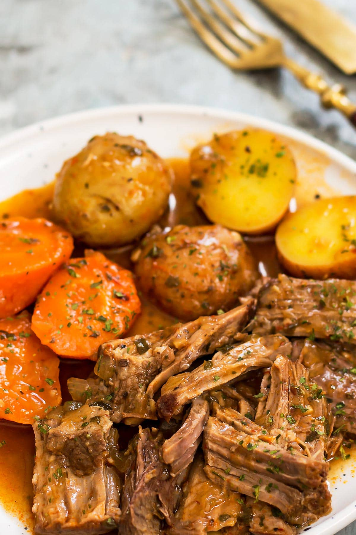 Plate of Crock Pot Roast with potatoes and carrots