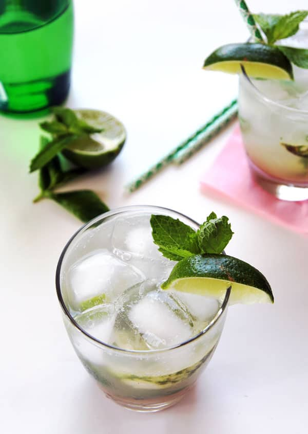 Rhubarb Mojito Mocktail with Ice
