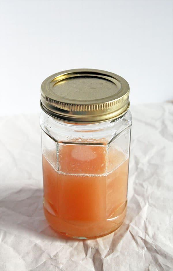 Rhubarb Simple Syrup in Jar
