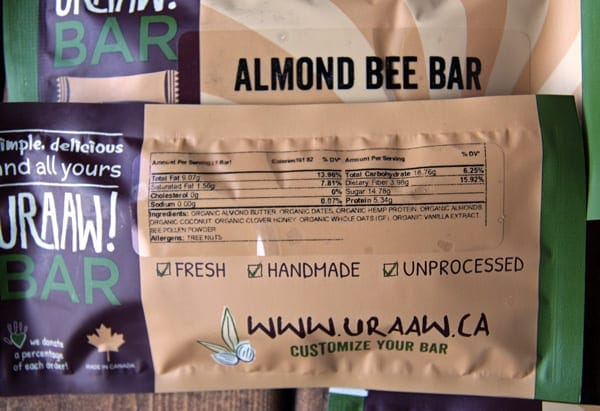 Uraaw! Energy Bar Nutrition Info