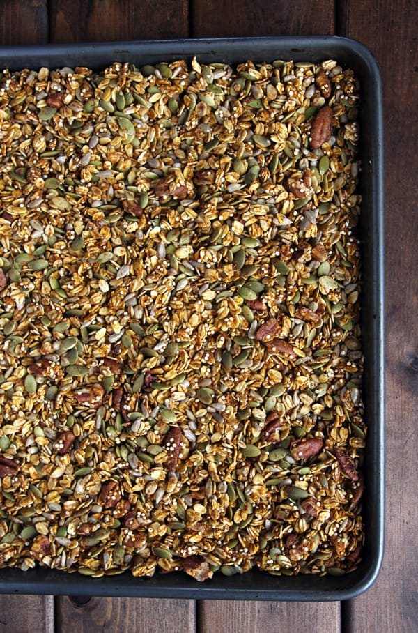 Healthy Pumpkin Granola in Pan