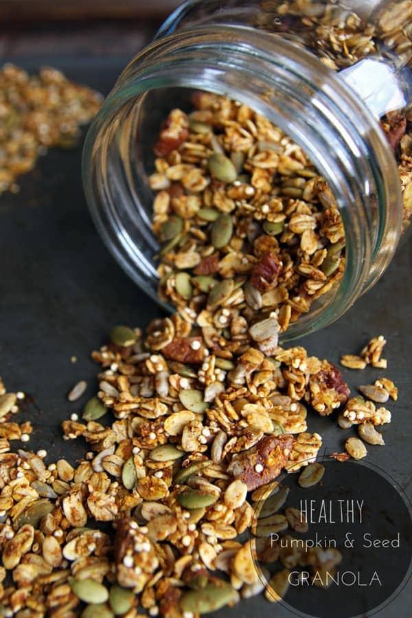 Jar Spilling Healthy Pumpkin Granola