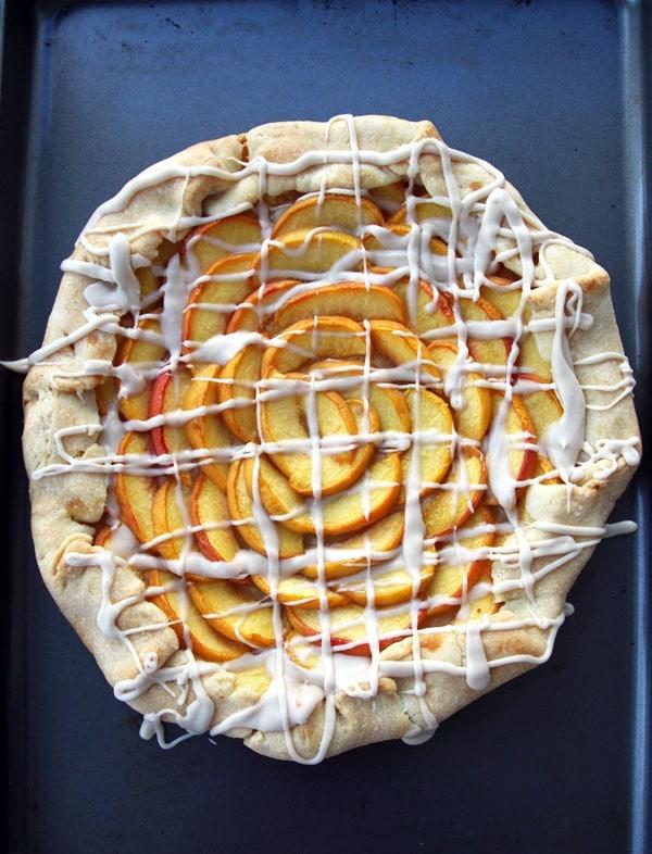 Peach Galette on Baking Sheet