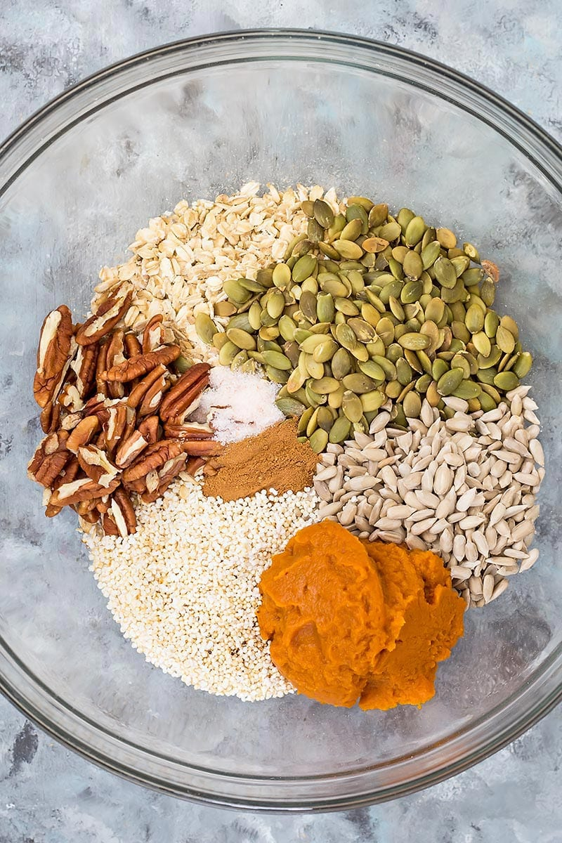 Pumpkin Granola Ingredients in Bowl