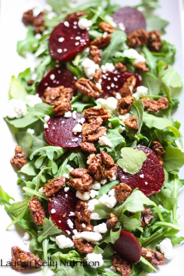 salad arugula beet salad with candied pecans by lauren kelly nutrition
