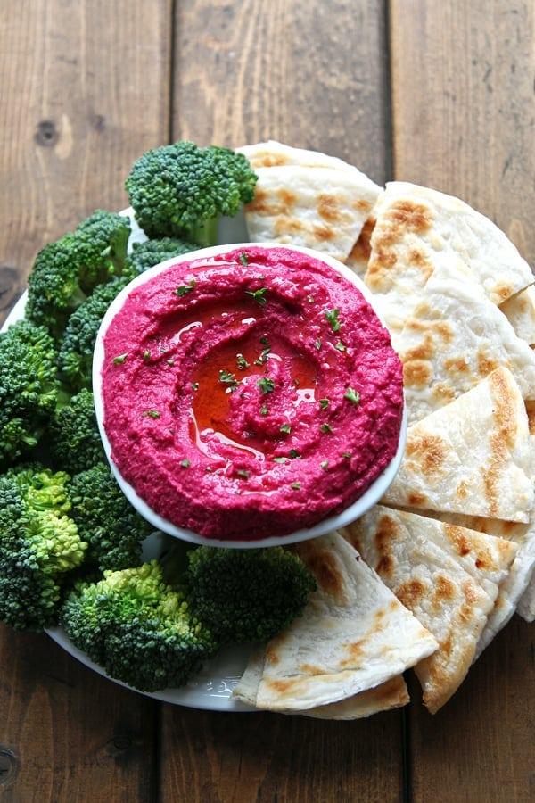 Roasted Beet Hummus Platter