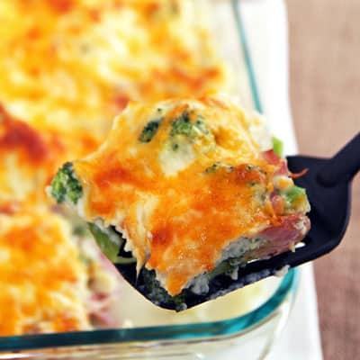 Cauliflower Broccoli Bake with Ham