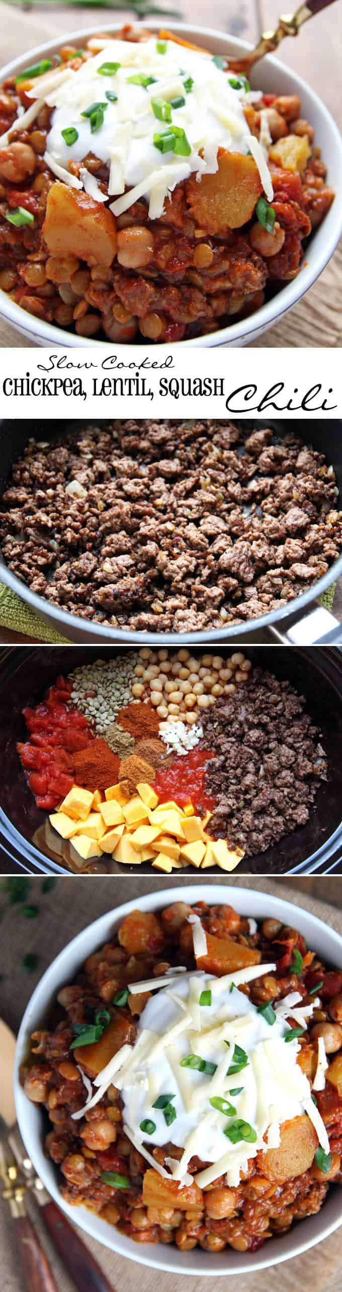 Slow Cooked Lentil Chickpea Chili with Squash