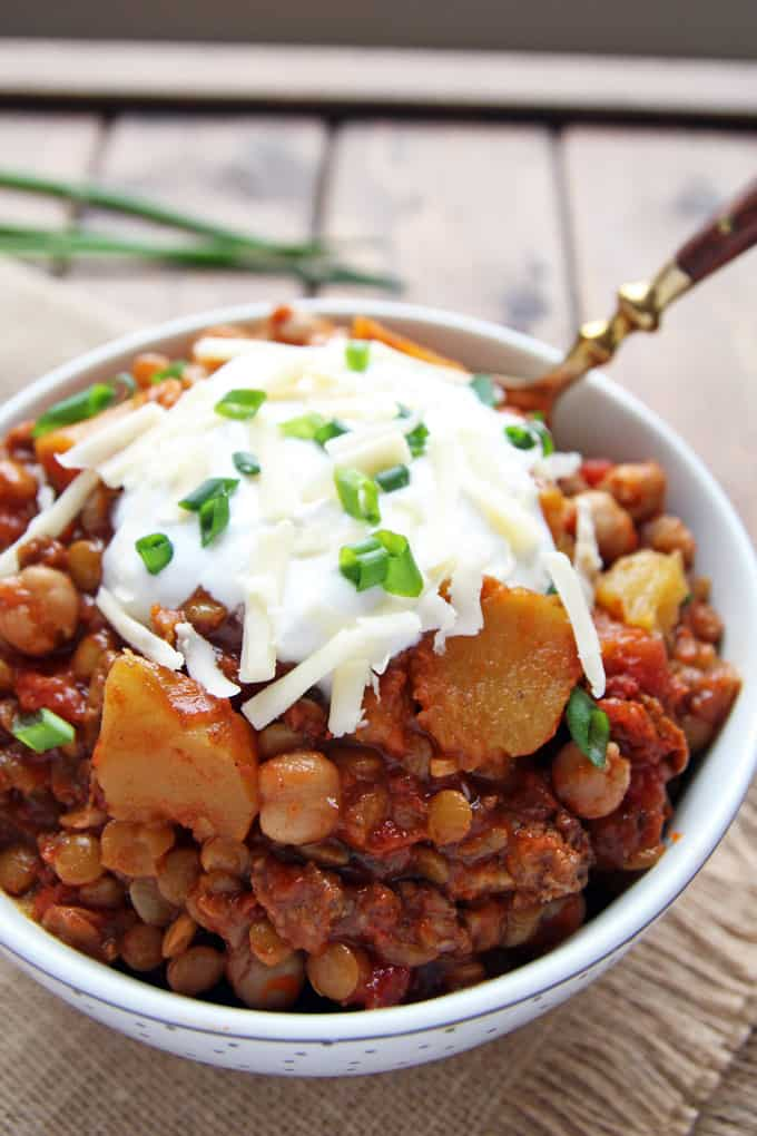 Slow Cooked Chickpea Lentil Squash Chili