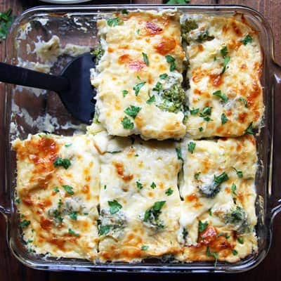 Tortellini Broccoli Bake with Creamy Cauliflower Sauce
