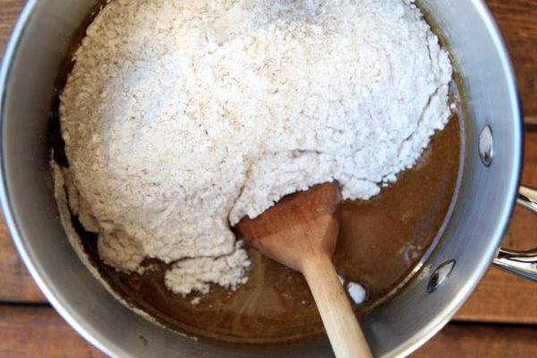 Stirring Flour into Gingerbread Dough