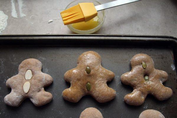 Brushing the German Gingerbread Cookies