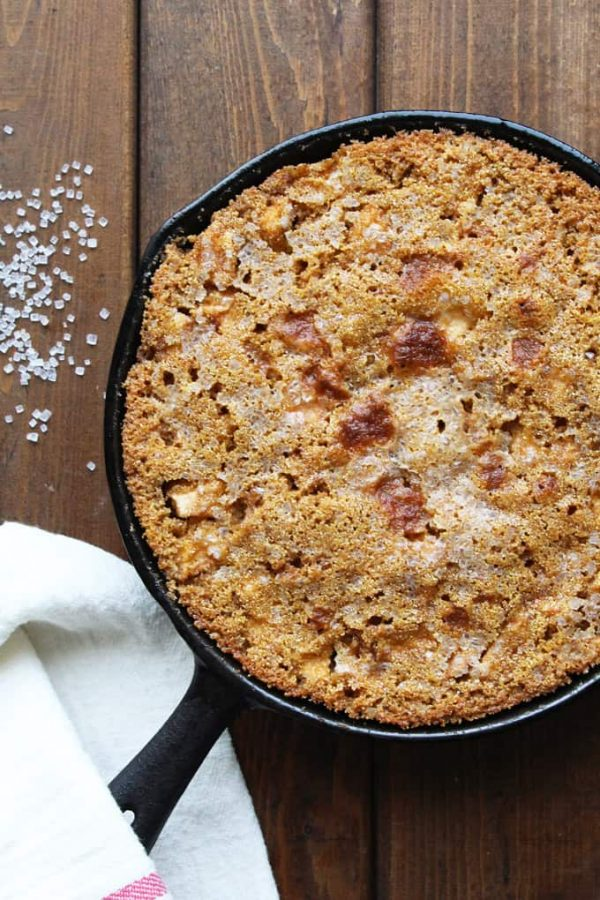 Gluten-Free Apple Skillet Cake Fresh Cooked with Sugar