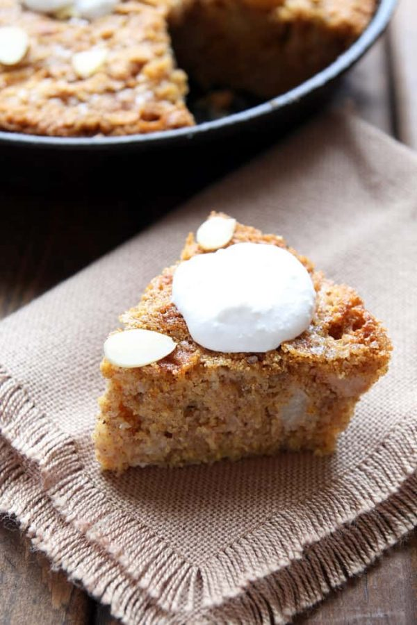Gluten-Free Apple Skillet Cake Slice with Creme Thick