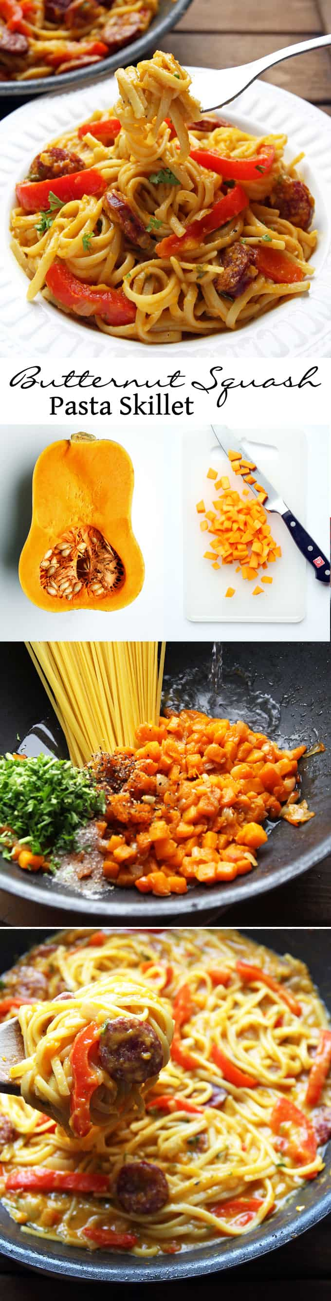 One Pan Butternut Squash Pasta with Sausage and Peppers