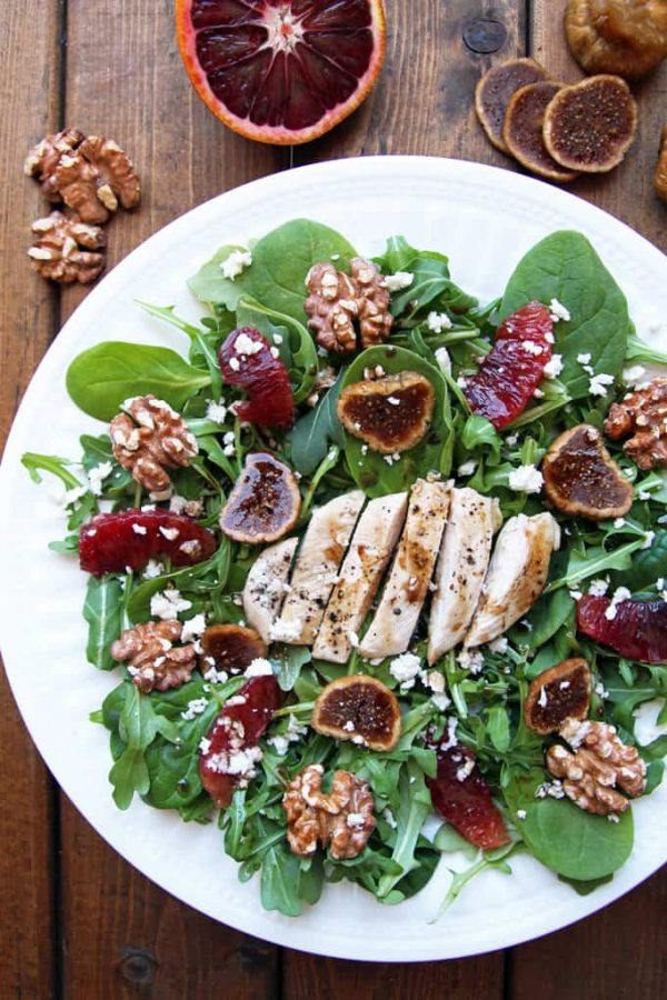 Tuscan Chicken Salad Arugula Spinach Figs Walnuts Blood Orange
