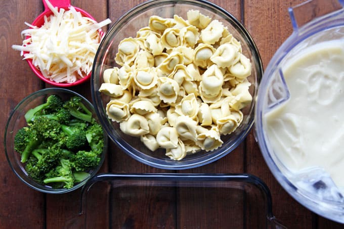 Baked Tortellini and Broccoli with Creamy Cauliflower Sauce