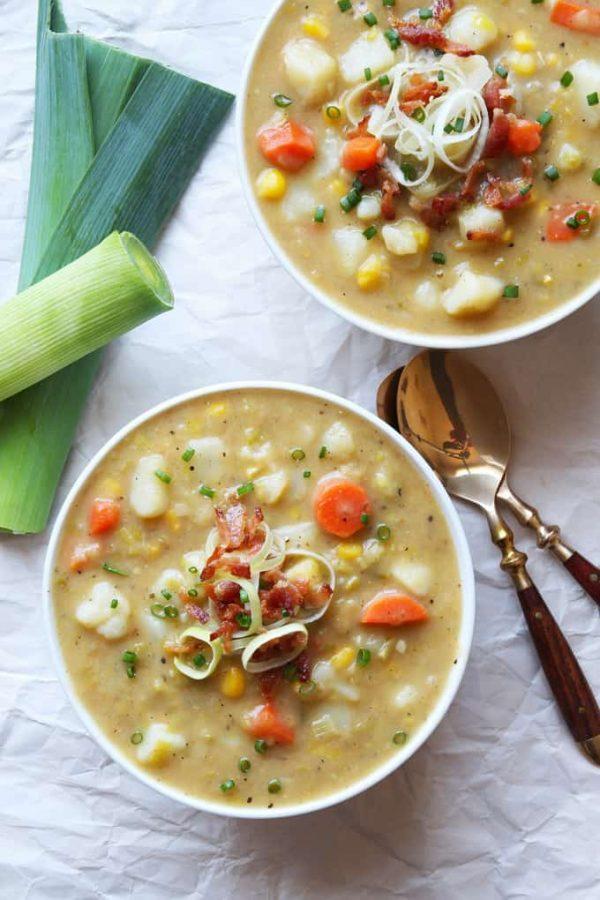 Vegetable Leek Soup in Bowls
