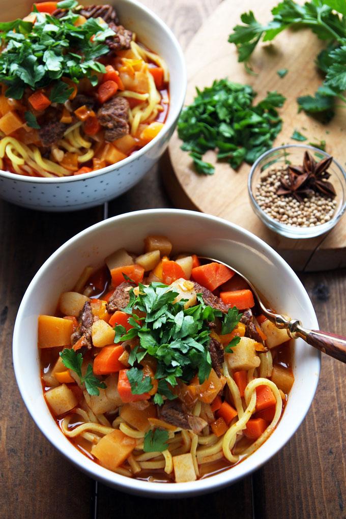 Lagman Uzbek Beef Noodle Soup with Vegetables