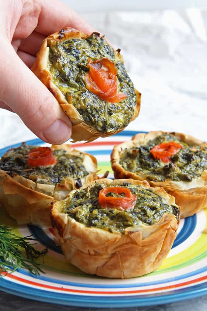 Mini Salmon Spinach Quiches