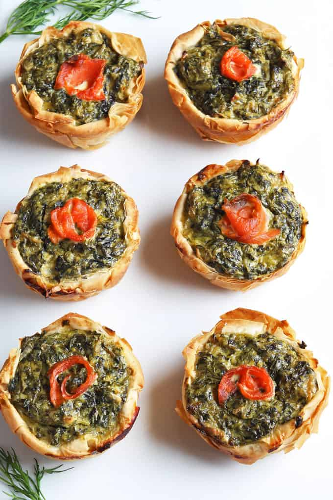 Mini Spinach Salmon Quiches