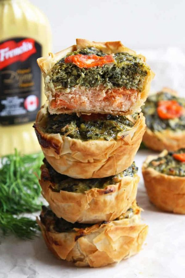Stack of Mini Salmon Quiche