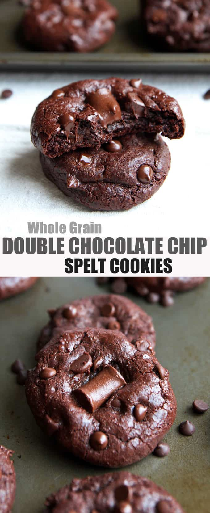 Double Chocolate Chip Cookies with Spelt Flour - no refined sugar
