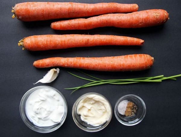Creamy Shredded Carrot Salad Ingredients