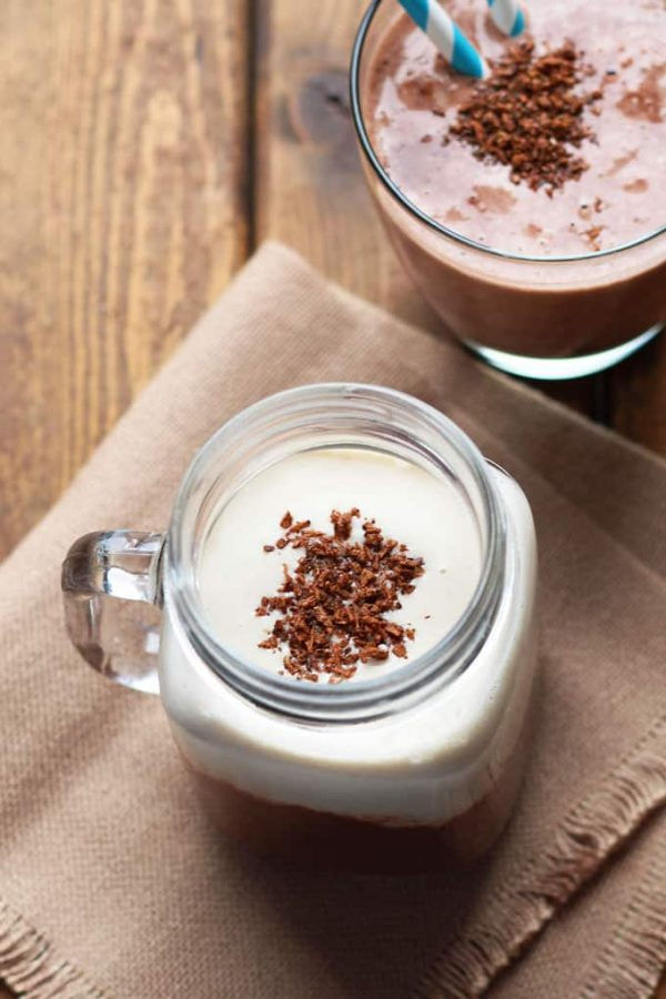 Peanut Butter Chocolate Protein Smoothie Overhead