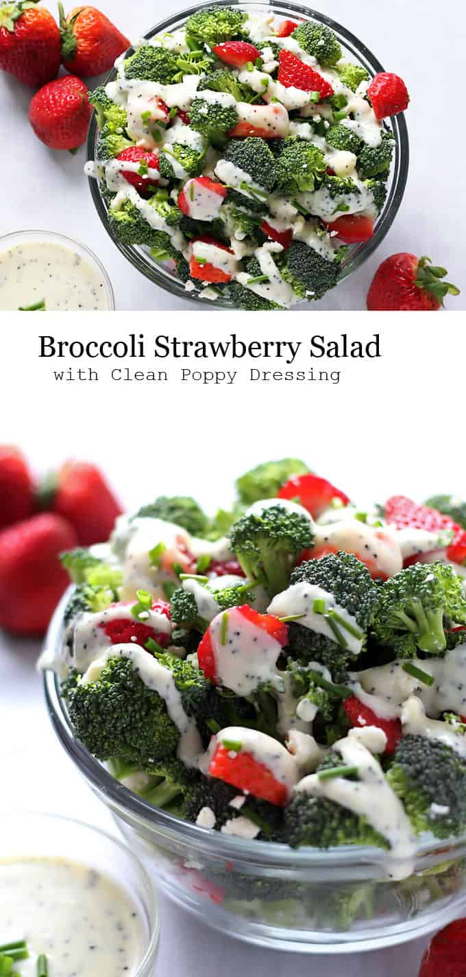 A fresh summer salad with broccoli, strawberries and feta cheese paired with a clean (mayonnaise-free) creamy poppy seed dressing. Perfect for Summer BBQs.