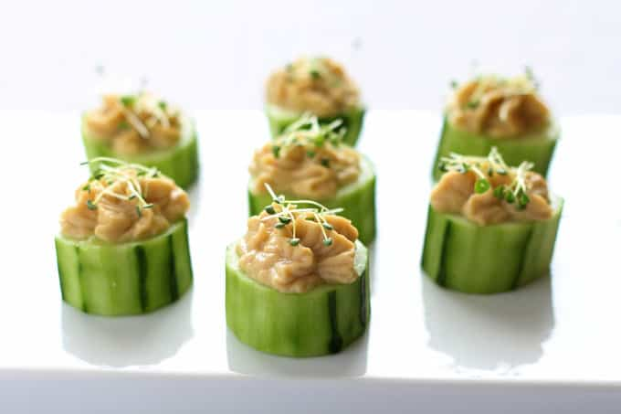 Cucumber Hummus Bites with Chia Sprouts + Poise FREE Samples