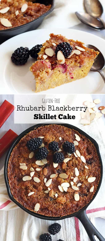 Gluten-Free Rhubarb Skillet Cake #norefinedsugar #glutenfree
