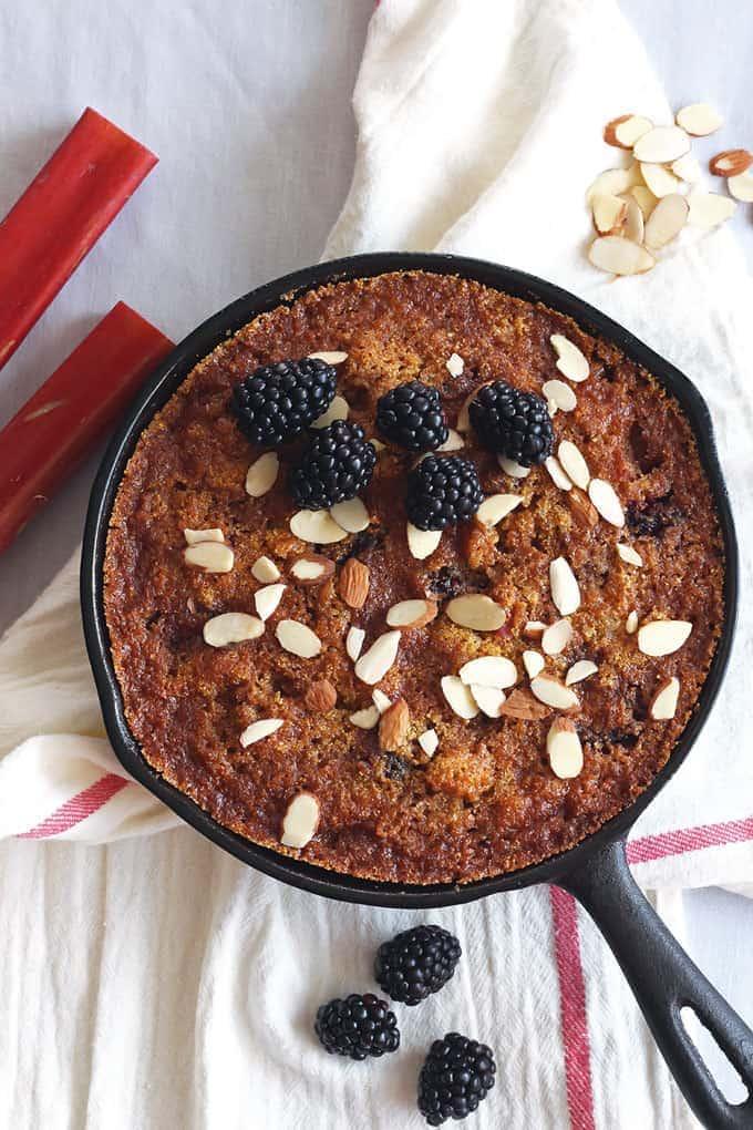 Gluten-Free Blackberry Rhubarb Skillet Cake
