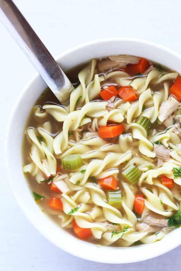 Chicken Noodle Soup Close-Up Spoon