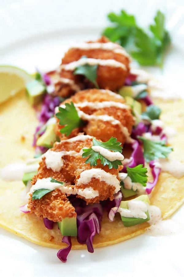 Shrimp Tacos Tortilla and Sauce
