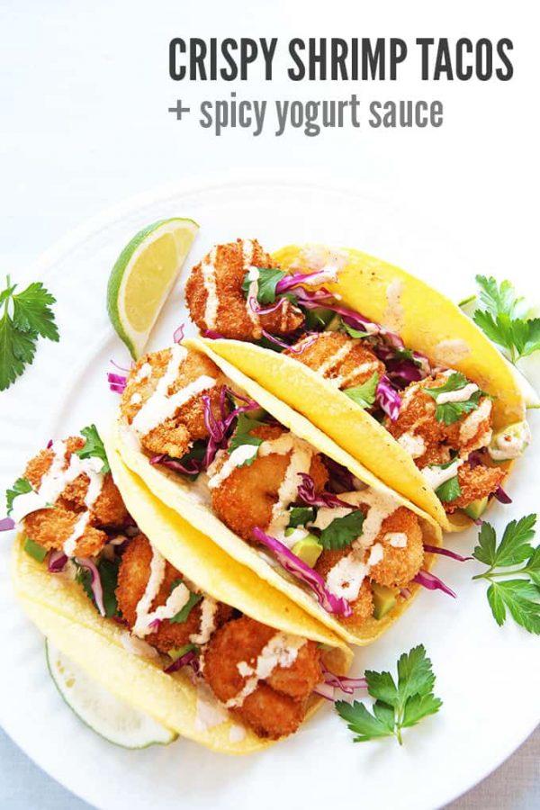 Crispy Shrimp Tacos Aerial View