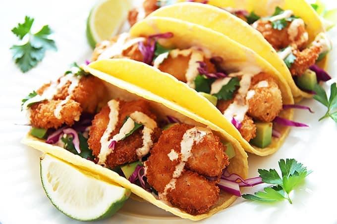 Crispy Shrimp Tacos Spicy Yogurt Sauce