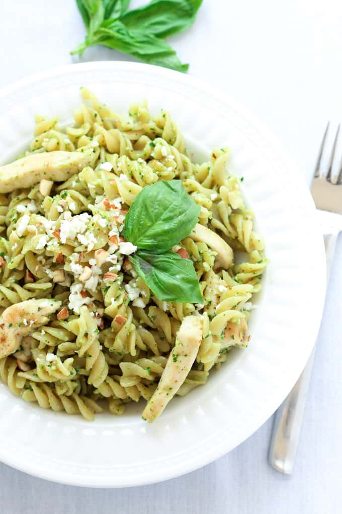 This delicious pesto chicken pasta dish is perfect for busy weeknights. It is ready in just 20 minutes and nicely balanced with carbs, protein and greens.