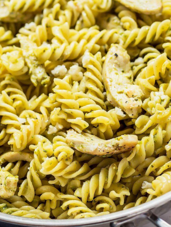 Closeup Pesto Pasta