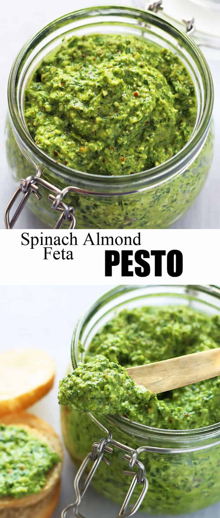This delicious Spinach Pesto is made with almonds and feta cheese. The coarse texture makes it perfect as a dip or spread. #pesto #appetizer