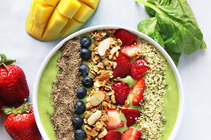 Green Smoothie Bowl Aerial View