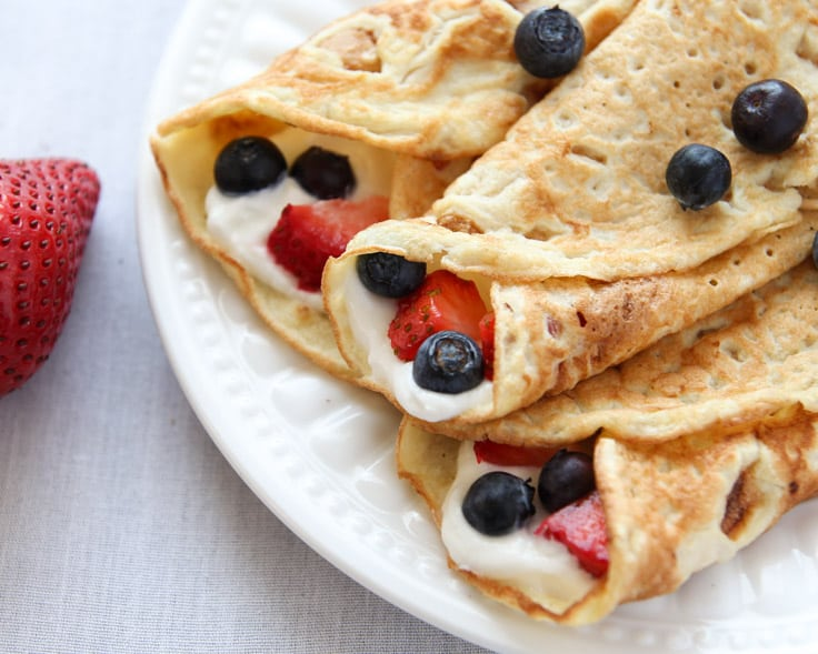 Coconut Flour Crepes Rolled Up