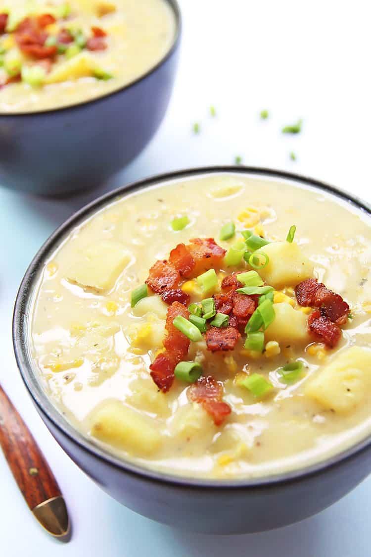 Potato Corn Chowder in Bowl