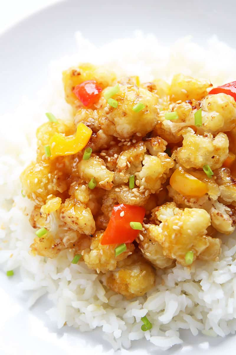 Orange Cauliflower Stir-fry Over Rice